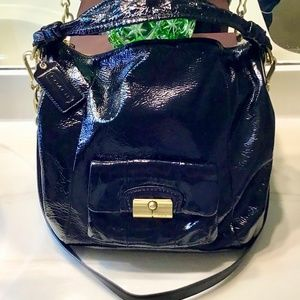 Coach Kristin Black Patent Leather Hobo Preowned